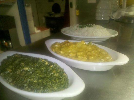 Namaste Cuisine of India and Nepal: Saag Paneer, Vegetable Korma and Rice