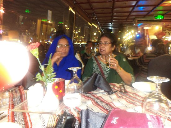 Dhow Dinner Cruise:                   Ladies enjoying soft drinks