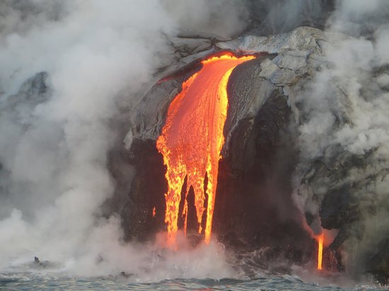 Lava Ocean Tours Inc: Waterfall of molten rock