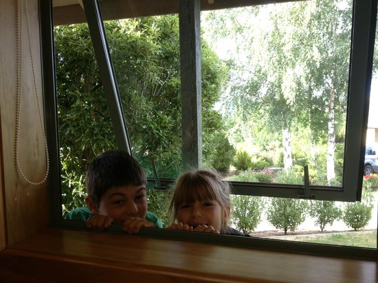 Chalets Motel:                   The kids enjoyed the big windows to pop their heads in to check on us