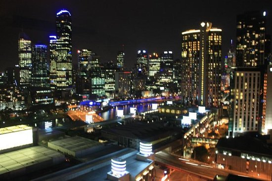 Crown Metropol Melbourne:                   The view from my room at night