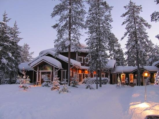 Akaslompolo, Finland:                   Poro restaurant at Christmas