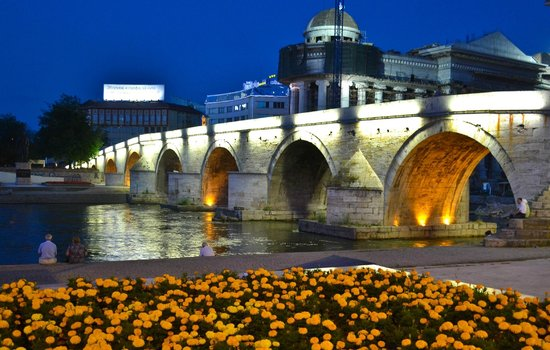 Skopje, Republiek Macedonië: Stone bridge