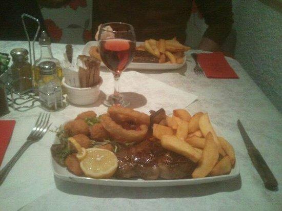 JK's Steakhouse:                   Sirloin Steak with Scampi (surf n turf)