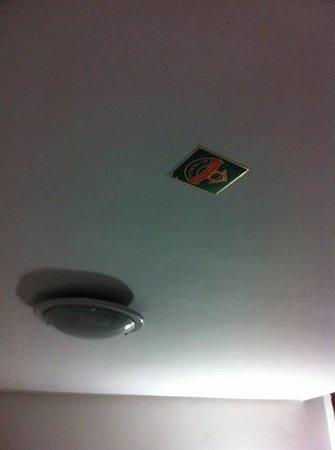 Hotel Bouregreg:                   beer mat stuck to ceiling??