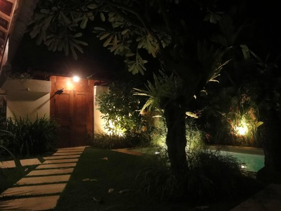 Dyana Villas:                   Entrance gate and garden at night