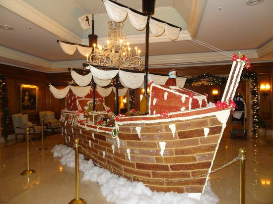 The Ritz-Carlton, Amelia Island:                   Gingerbread ship made for Chistmas in the lobby