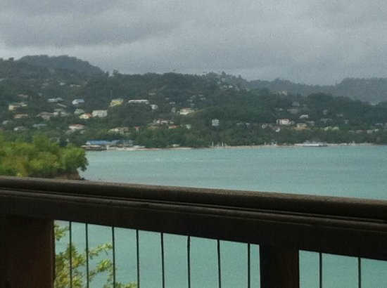 Calabash Cove Resort and Spa:                   balcony view on a wet day