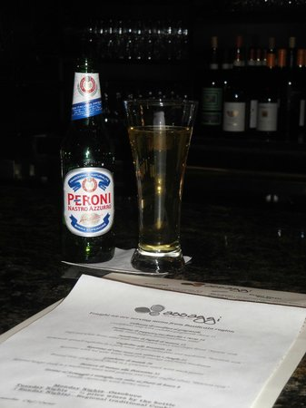 Assaggi Mozzarella Bar: Enjoying an Italian Peroni Beer & Perusing the Restaurant Menu for Appetizers