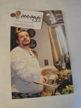 Assaggi Mozzarella Bar: Chef's Business Card and Public Postcard/Handout Announcement of Chef's Cooking Class