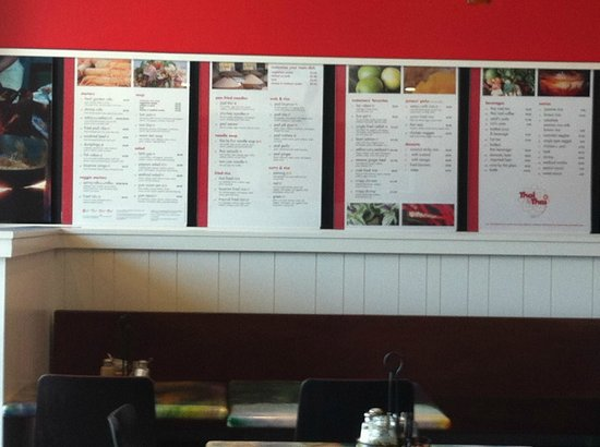 Thai by Thai: Side wall menu.