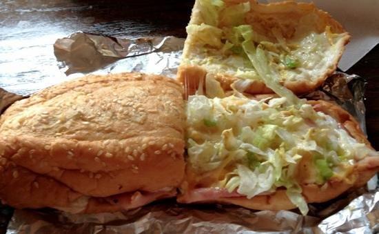 Momma Goldberg's Deli: soggy bread, cold meat, plain lettuce on a Big Daddy
