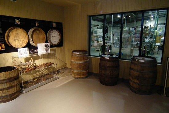 Penderyn Distillery: Variety of casks and window to bottling hall