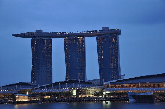 The Fullerton Hotel Singapore:                   Marina bay sands from Fullerton