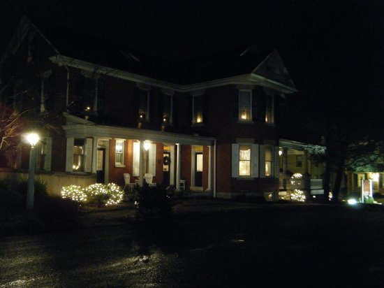 The Inn & Spa at Intercourse Village:                   Main house at night (side entrance)