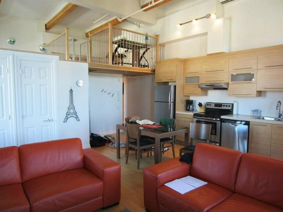 Les Lofts 1048:                   Kitchen/Living Room area with Loft view