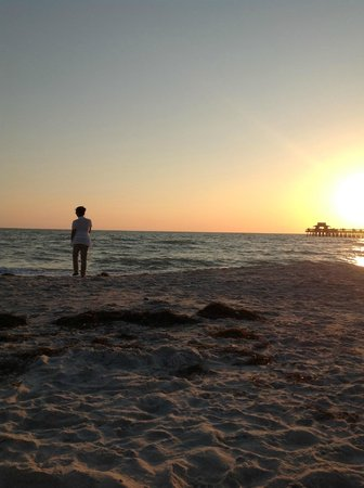 Hilton Naples : Sunset on the beach