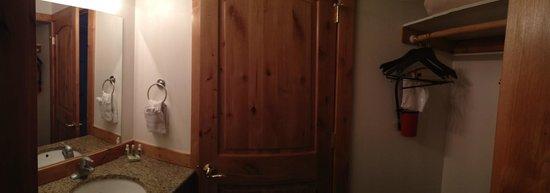 Flying Saddle Resort: bathroom area in cabin