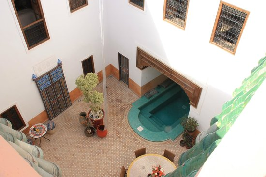 Riad Al-Bushra:                   View from the roof terrace into courtyard
