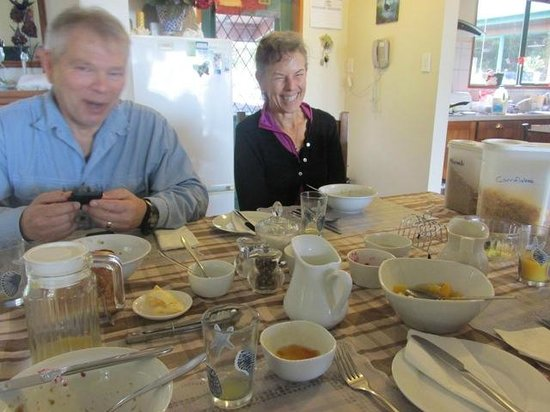 Bluewaves Homestay:                   We love breakfast with the Boddys