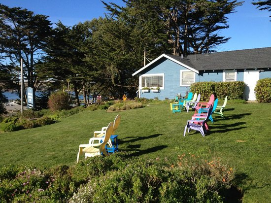 Bodega Harbor Inn:                   Front Lawn, lounge chairs & view of harbor