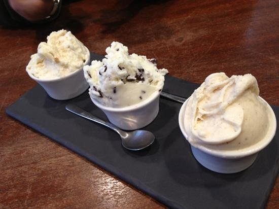 Bella Gelateria & Gelato :                   3 small portion of gelato on fancy plate - Dine Out Ripe Off!