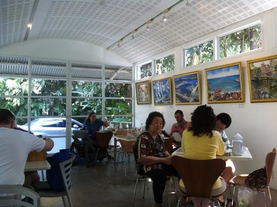 Neilson Hays Library Cafe: peaceful setting with lots of light and some artwork on sale
