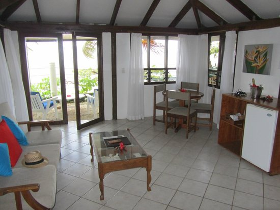 Hideaway Island Resort & Marine Sanctuary:                   Living room of ocean front bungalow