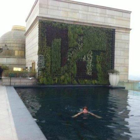 The Leela Palace New Delhi: Piscine chauffée au dernier étage surplombant Delhi