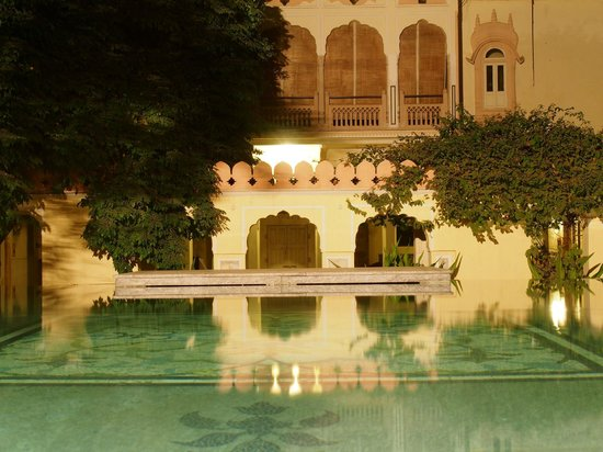 Naila Bagh Palace:                   The above ground pool in the courtyard, taken at night time