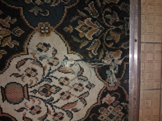 The Blue Boar Inn:                   entrance to bathroom - carpet dirty and torn