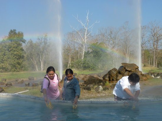 San Kamphaeng Hot Springs:                   Cooking eggs in the hot springs - geysers are fake, pools not