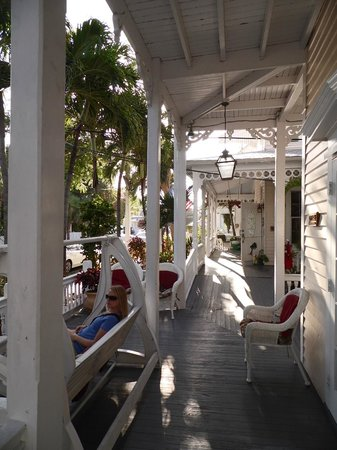 The Palms Hotel- Key West:                   Front porch to the hotel