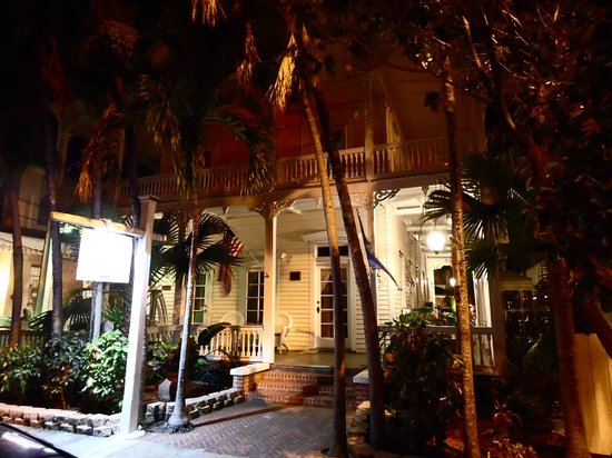 The Palms Hotel- Key West:                   Front of hotel at night from street