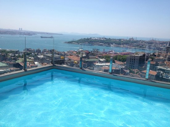 The Marmara Pera Hotel:                   View from swimming pool on the terrace.