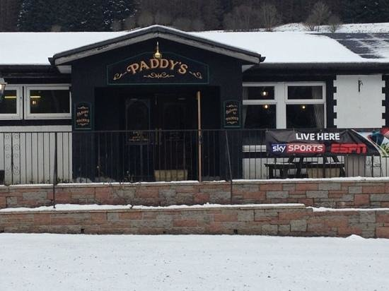 Paddy's:                                                                         front of pub