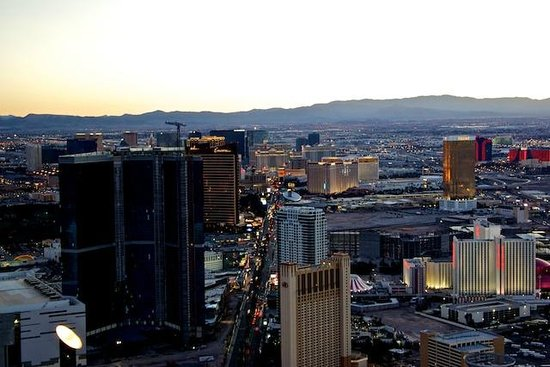 """Stratosphere Hotel, Casino and Tower, BW Premier Collection: View of """"Strip"""" from tower at sunset."""