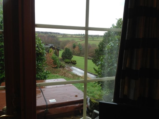 Faweather Grange: View from living room over hot tub