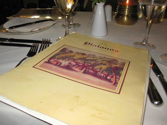 Platanos:                   The menu