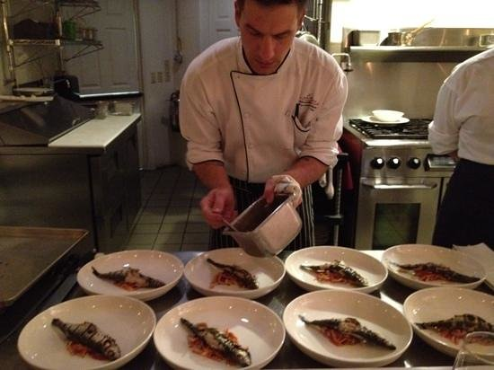 Amuse :                   Chef Alex prepping sardines from Sardinia for the nights Chef's Table experien