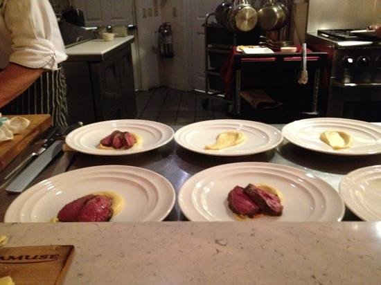 Amuse :                   Sous-vied wagu beef being prepped for the Chef's table dining experience.