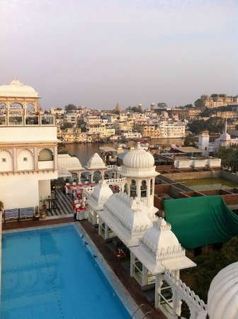 Hotel Udai Kothi:                   View of swimming pool and dining area