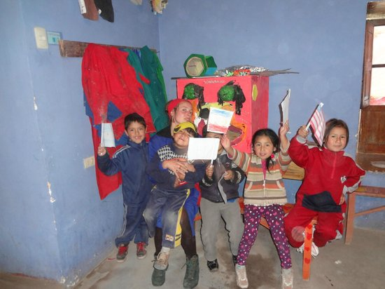 Hostal Magico:                   Kids at Aldea Yanapay preparing for the show.