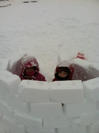 Gorgoza Park:                   building a snow fort in fort frosty