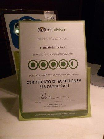 Hotel delle Nazioni: el certificado de tripadvisor