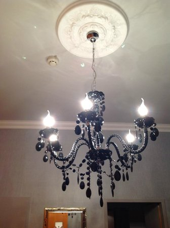 Hotel Fuerst Metternich:                   Interesting chandelier above bed
