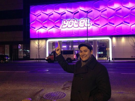 YOTEL New York at Times Square West:                   Sam in front of Yotel