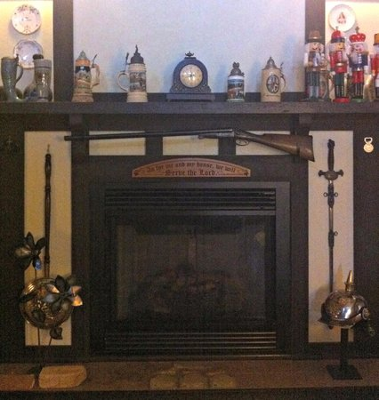 Kessler Old World Guesthouse:                   The mantle with LOTS of stories behind it.