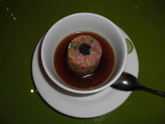 Morimoto: 1st Omakase course.  Toro (fatty tuna)