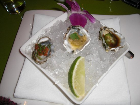 Morimoto: 2nd Omakase course.  Oysters on the half-shell with different sauces